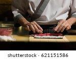 chef japanese cuisine in hotel... | Shutterstock . vector #621151586