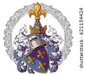 knightly coat of arms. medieval ... | Shutterstock .eps vector #621154424