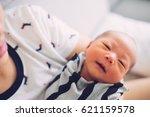 newborn baby sleep first days... | Shutterstock . vector #621159578