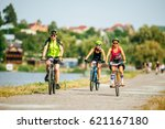 bicyclists  females and male ... | Shutterstock . vector #621167180