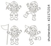 spaceman set  collection of... | Shutterstock .eps vector #621171314