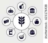 nutrition icons set. set of 9... | Shutterstock .eps vector #621176438