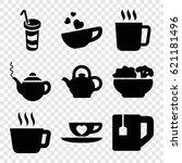 tea icons set. set of 9 tea... | Shutterstock .eps vector #621181496