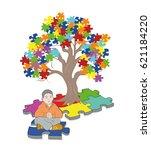 child sitting under a tree.... | Shutterstock .eps vector #621184220