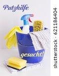 putzhilfe gesucht   help wanted ... | Shutterstock . vector #621186404