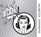 woman comic pop art expression | Shutterstock .eps vector #621188744