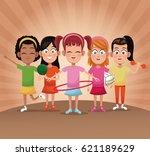 group girls player sport   Shutterstock .eps vector #621189629