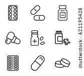 pill icons set. set of 9 pill... | Shutterstock .eps vector #621195428