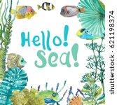 watercolor sea life  seaweed ... | Shutterstock . vector #621198374