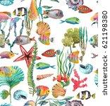 watercolor sea life  seaweed ...   Shutterstock . vector #621198380