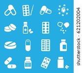 pill icons set. set of 16 pill... | Shutterstock .eps vector #621202004