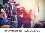 video camera operator working... | Shutterstock . vector #621203723
