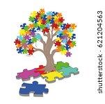 puzzle pieces in autism... | Shutterstock .eps vector #621204563