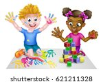 cartoon boy and girl playing... | Shutterstock .eps vector #621211328