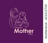 happy mother day logo vector... | Shutterstock .eps vector #621211724