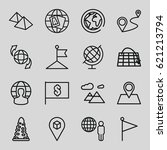 map icons set. set of 16 map... | Shutterstock .eps vector #621213794