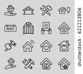 property icons set. set of 16... | Shutterstock .eps vector #621213806