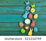 easter homemade gingerbread...   Shutterstock . vector #621216749