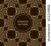 golden seamless pattern on dark ...   Shutterstock .eps vector #621219800