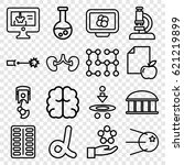 science icons set. set of 16... | Shutterstock .eps vector #621219899
