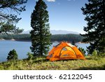 camping tent by lake | Shutterstock . vector #62122045
