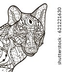 fox head animal coloring book... | Shutterstock .eps vector #621221630