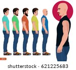 male side pose  character side... | Shutterstock .eps vector #621225683