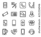 telephone icons set. set of 16... | Shutterstock .eps vector #621226046