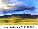 colorful painting of landscape...   Shutterstock . vector #621228200