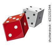 red and white dice cubes icon.... | Shutterstock . vector #621231344
