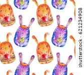seamless pattern with easter...   Shutterstock . vector #621234908