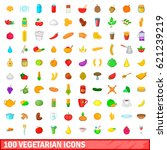 100 vegetarian icons set in... | Shutterstock . vector #621239219
