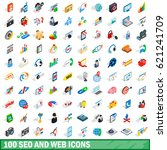 100 seo and web icons set in...