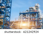 refinery tower in petrochemical ... | Shutterstock . vector #621242924