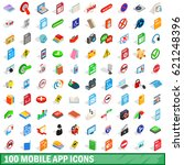 100 mobile app icons set in...