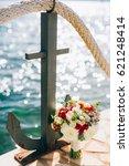 wedding bridal bouquet of roses ... | Shutterstock . vector #621248414
