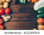 vegetables on rustic wooden...