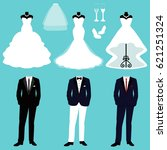 wedding card with the clothes... | Shutterstock .eps vector #621251324