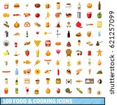 100 food and cooking icons set... | Shutterstock . vector #621257099