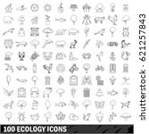 100 ecology set in outline... | Shutterstock . vector #621257843
