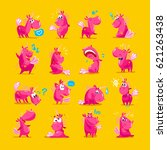 vector collection of flat funny ... | Shutterstock .eps vector #621263438