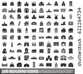 100 building icons set in... | Shutterstock . vector #621264734
