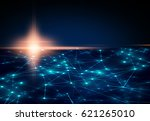 light flare with blue network... | Shutterstock . vector #621265010