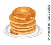 fresh tasty hot pancakes with...   Shutterstock .eps vector #621266009