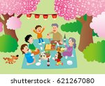 cherry tree and family | Shutterstock . vector #621267080