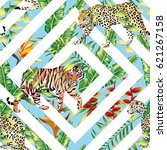 Stock vector pattern beach vector animal tiger leopard seamless tropical leaves geometrical background 621267158