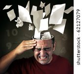 Conceptual image of papers coming out of a mans head with pain expression - stock photo