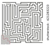 vector maze with answer 54 | Shutterstock .eps vector #621283223