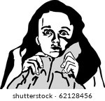 girl with a disturbing sight | Shutterstock . vector #62128456