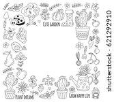 cute vector garden with birds ... | Shutterstock .eps vector #621292910